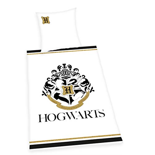 Herding Harry Potter Bettwäsche-Set, Mit Golddruck, Wendemotiv, Bettbezug 135 x 200 cm, Kopfkissenbezug 80 x 80 cm, Baumwolle/Renforcé
