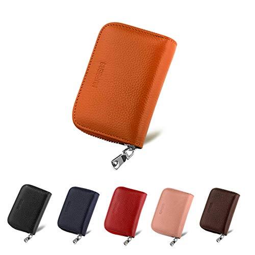 KUPEERS 本革 クレジットカードケース RFID カード入れ スキミング防止 ミニ財布 軽量 じゃばら 大容量 コインケース 男女兼用 (オレンジ)