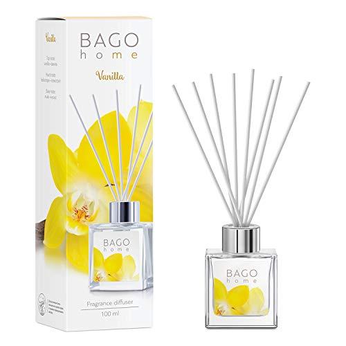 BAGO home Difusor de Varillas Perfumado - Vainilla, 100 ml | con 8 Palitos de Fibra | Ambientador sin Alcohol para casa, oficina, baño