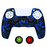 Teebo Cover Skin Case for Sony PS5 Dualsense Controller, Silicone Cover for Playstation 5 Controller x 1(Camouflage Blue) with Thumb Grip Caps x 2