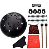 VusiElag Lengua de Acero del Tambor 8 Notas Re Mayor Mano 6 Pulgadas Pan Tambor Instrumento de percusión con el mazo Bolsa de Transporte Negro