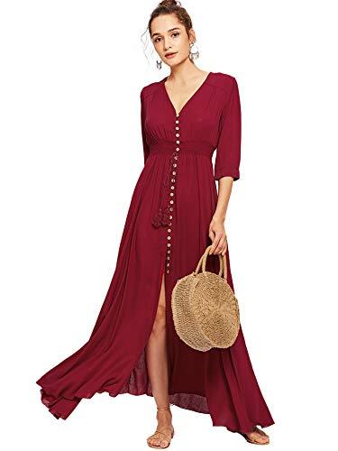 Milumia Women's Button Up Split Floral Print Flowy Party Maxi Dress Medium Red-3