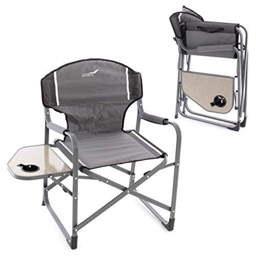 Divero 2er Set Angelstuhl Regiestuhl Campingstuhl mit Armlehnen und Getränkehalter – Polyester Aluminium – Farbe: Rahmen hellgrau - Bespannung grau