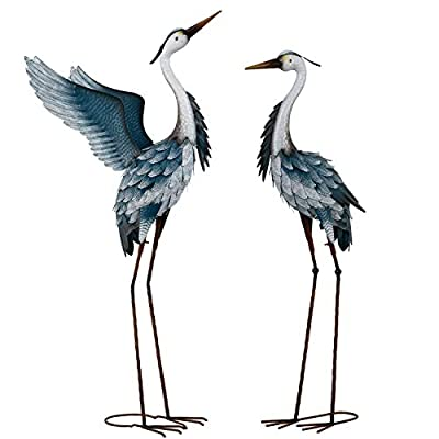 TERESA'S COLLECTIONS 40.7 inch Standing Metal Herons Garden Statues Decor for Outdoor Indoor, Set of 2 Blue Cranes Sculptures for Patio Lawn Yard Porch Home Decorations