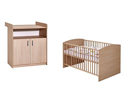 Schardt 10 521 04 00 Set 2 pièces comprenant un lit combiné avec draps et commode à langer, 70 x 140 cm, hêtre classiques