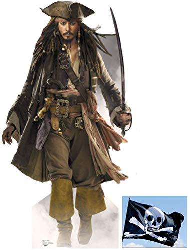 "*FANBÜNDEL* - JOHNNY DEPP AS CAPTAIN JACK SPARROW - LEBENSGROSSE PAPPFIGUREN / STEHPLATZINHABER / AUFSTELLER (Größe 183cm) - Pirates Of The Caribbean - ENTHÄLT 8x10"" (25x20cm) STARFOTO - FANBÜNDEL #10"