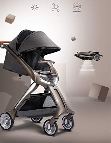 Luxe landau haut paysage bébé poussette foldbale nouvelle mode bébé landau avec phare LED chariot haut de gamme pour les nouveau-nés