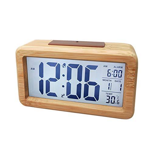 Despertador de cama, reloj despertador digital de madera, pantalla grande, temperatura ajustable y carga USB para el hogar, cama, escritorio, estante