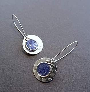 Handmade Lightweight Silvertone Small Cobalt Blue Disc Earrings Beads by Bettina