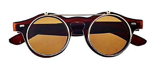 Gafas de sol redondas steampunk flip up hipster de doble lente con varita - marrón - idea de regalo de cumpleaños