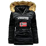 Geographical Norway, Parka - Pasamontañas para mujer con capucha, modelo Bresilian Lady, negro, XL