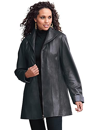 Roaman's Women's Plus Size A-Line Leather Jacket - 24 W, Black