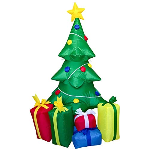 LYYAN Christmas Tree and 5 Packages with LED Christmas Inflatable 240cm Tall Seasonal Decoration Outdoor Airblown Lawn Ornament Garden