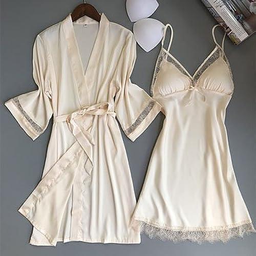 PPOJAS Femmes Sleep & Lounge deux pièces robe et ensembles de robe évider Lace & Satin femme mini robe de nuit peignoir ensemble