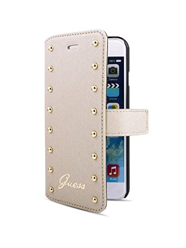 Guess - Funda para iPhone 6 Plus (con Tarjetero), diseño con Tachuelas, Color Crema