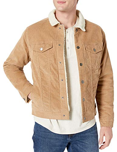 Amazon Essentials Men's Sherpa Jacket, Tan, Small