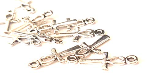 Dojore Pack of 20 Silver Mini Ankh Charms. 17mm x 7mm. Egyptian Cross, Key of Life, Fertility, Wisdom, Crux Ansata Pendants