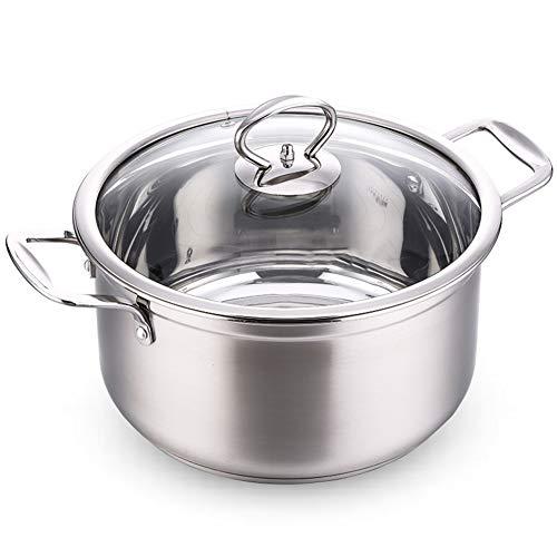 304 en acier inoxydable Pot de soupe, Grand Marmite avec couvercle, Poêle antiadhésive Induction Cuisinier Four électrique Universel, 24cm argent