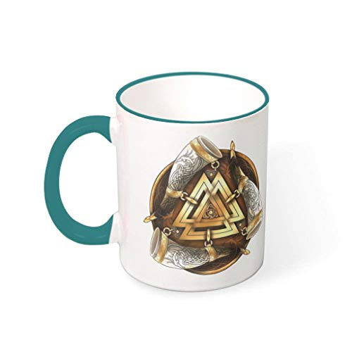 Taza de café vikingo, triple cuerno suave, de cerámica, divertida, ideal para la oficina, regalo de cumpleaños, 330 ml