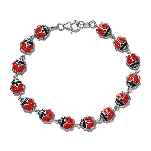 GP Blue Sapphire Lady Bird Charm Bracelet for Women in Platinum Plated 925 Sterling Silver Designer Charms De Memoire Gift Size 7.5 Inches, TCW 0.02ct