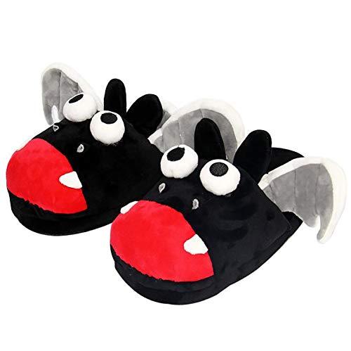 SHANGLY Frauen Innen Plüsch Hausschuhe Süße Fledermaus Tiere Flats Schuh Winter warm Verdicken Weicher Boden Hausschuhe,35~42(280mm)