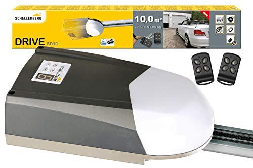 Schellenberg 60910 Garagentorantrieb Drive SD10 für Tore bis 10 m², 600N, inkl. 2 Handsender 433 MHz und Notentriegelung, Elektrischer Torantrieb mit Softstart- / Softstopp-Automatik