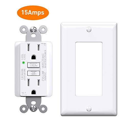 GFCI Outlet 15 Amp, Slim Receptacle Outlet with Status Indicator Light, Outdoor & Indoor, Self-Test Ground Fault Circuit Interrupter with Wall Plate, 1 Pack, White