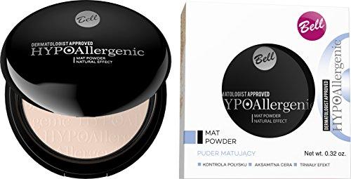 HYPOallergenic Mattieren Puder Hypoallergener Mat Powder Natural Effect - Farb 02 (1x 0.32 oz), shine control, velvety skin, long lasting effect, Bell Kosmetik
