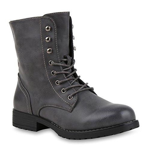 Damen Schnürstiefeletten Profilsohle Boots Camouflage Stiefeletten Leder-Optik Schnür Übergrößen Schuhe 130746 Dunkelgrau 36 Flandell