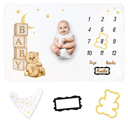 Baby Monthly Milestone Blanket | Baby Growth Chart for Boy and Girl Gender Neutral | Baby Month Blanket Includes Bandana Bib and 2 Frames Set and Baby Registry Gift (Brown Bear)