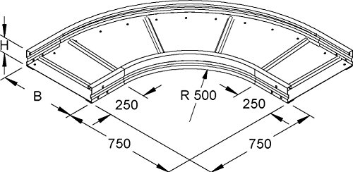 Niedax Rundbogen WRBR 105.300 WRL Bogen für Kabelrinne 4013339949298