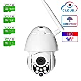 4MP Wireless Outdoor PTZ IP Security Camera, 5X Zoom Wireless Surveillance Camera with SD Card Two Way Audio Night Vision Motion Detection,NO Card