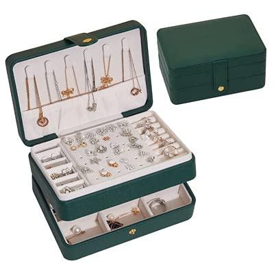 HUIJK Joyero Caja de joyería de Nueva Capa Doble Verde Pendientes prácticos Collares Mostrar PU Organizador de joyería de Cuero para Mujeres. Cajas (Color : Pink-4)