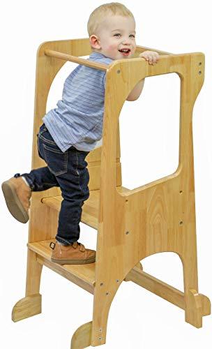 KATANABANA Kids Kitchen Step Stool Helper - Safety Rail - Adjustable Height - Hardwood - Learning Toddler Tower - Montessori Standing Counter Platform for Children (Natural)