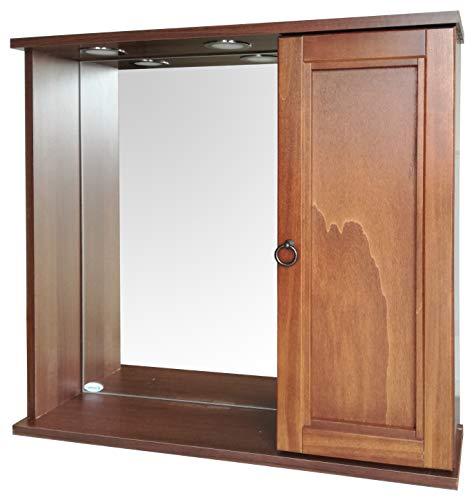 Specchiera cm.68,8x16x60, un'anta destra in legno arte povera con illuminazione