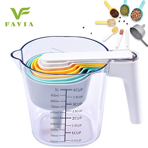 FAVIA Messbecher und Messlöffel Set mit einem Schaber Ein Trichter 10 Stück Kunststoff Kochen und Backen Küchengerät BPA Free Spülmaschinenfest