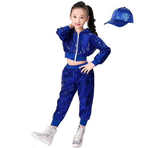 Kinder Mädchen Pailletten Hip Hop Kostüm Street Dance Kleidung gesetzt (140, blau)