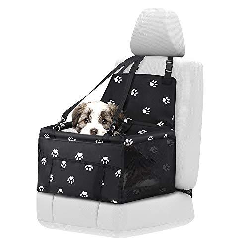 Maxjaa seggiolino Auto per Cani, sedili Cane Auto per i Piccoli Cani, sede Portatile Pet Booster Auto Impermeabile e Pieghevole sede Puppy Car (Nero con Paw Prints)