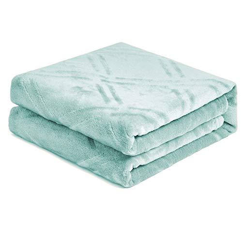 HTampPJ Super Soft Lightweight Flannel Fleece Throw Blanket Microfiber Velvet Cozy Warm Throw Blanket for Living Room Throw 50quot X 60quot Coral Green