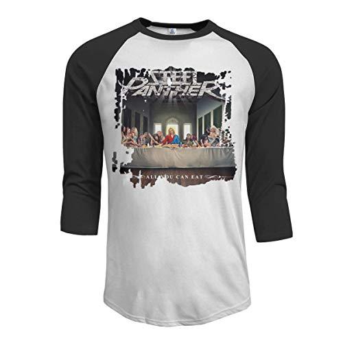 Pimkly Herren Tee T-Shirt, Men's Steel Panther All You Can Eat 3/4 Sleeve Raglan Baseball Tee Black