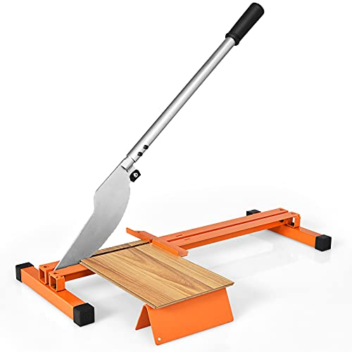 Goplus Vinyl Floor Cutter, Manual Laminate Flooring Cutter for 8-inch & 12-inch Wide Floor, Heavy Duty Steel Frame w/V-Support, Easy-to-Grip Handle, Vinyl Plank Cutter