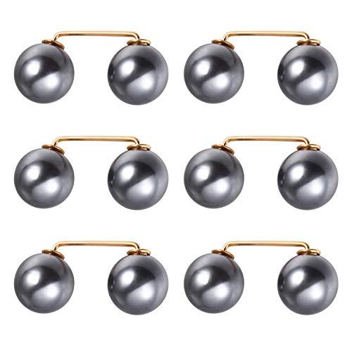 Healifty 6 Stück Perle Sicherheitsnadel Brosche Stifte Schal Kragen Hemd Stift Knöpfe Reduzieren Taille Straffer Pin Pullover Broschen für Frauen Grau Größe S
