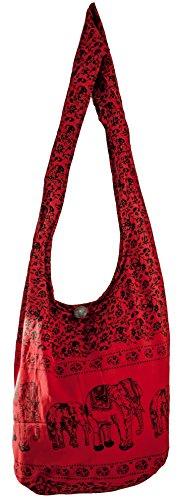SLING Bag COTTON 40 PRINTs Männer oder Frauen CROSSBODY Tasche LARGE BOHO Hippie Hobo Handtasche (Red ELEPHANT)