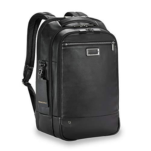 Briggs & Riley Leather Medium Backpack Aktentasche, 43 cm, 19.6 liters, Schwarz (Black)
