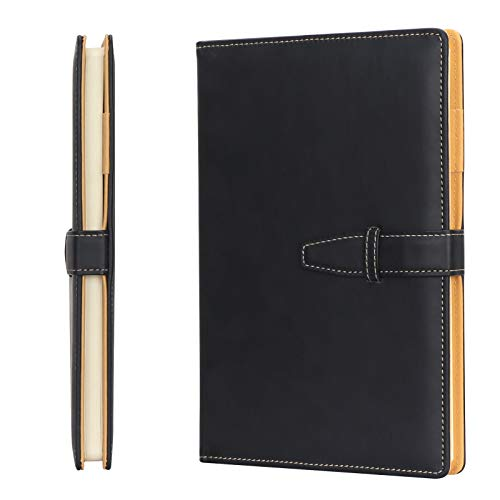 Skycase A5 Notebook,Hardcover Executive Notebooks,100 Sheets/200 Pages Journal Book with Pen Holder for Meeting , Work, Study and Travel,Black