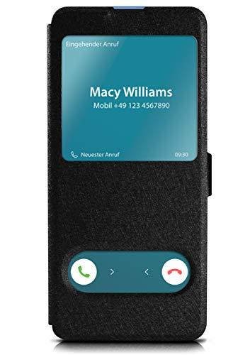 moex Klapphülle in Lederoptik inkl. Sichtfenster kompatibel mit Samsung Galaxy S20 Plus / 5G | Integrierte Standfunktion + Magnetverschluss, Schwarz