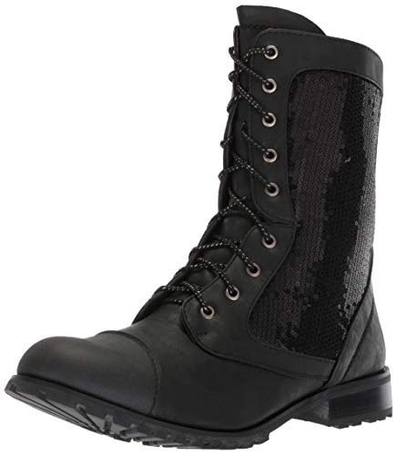 Gia-Mia Dancewear Women's Sequin Combat Boot, Black, 10 Medium US