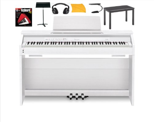 Hot Sale Casio Px850 White Digital Piano Bundle with Casio Cb7bk Furniture Style Bench, Standard Headphones, Mighty Bright Music Stand Light, Heavy Duty Music Stand, Hal Leonard Instructional Book and Polishing Cloth