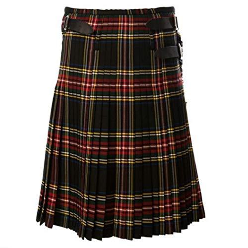 Astemdhj Falda Escocesa Scottish Skirt A Cuadros Patrón Medio Faldas Sueltas para Hombre Otoño Escocesas Escocesas Plisadas Pantalones De Cinturón De Moda para Hombre Pantalones C