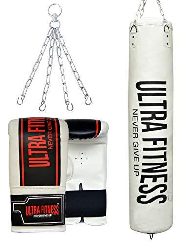 ULTRA FITNESS Saco de Boxeo Lleno de 4 pies y 5 pies con Guantes y Cadena Colgante, Blanco, 5ft